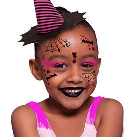 Kid's witch face temporary tattoo for Halloween
