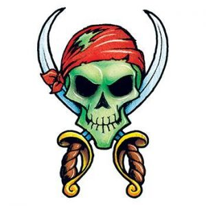 Pirate skull and crossbones temporary tattoo for Halloween
