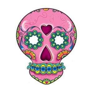 Pink Skull Day of the Dead Temporary Tattoo