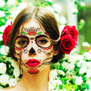 Roses Day of the Dead Face Temporary Tattoo