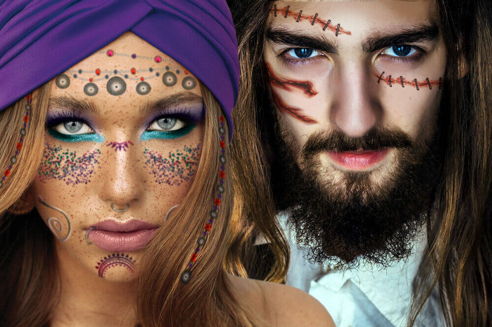 man and woman wearing temporary tattoos for adults