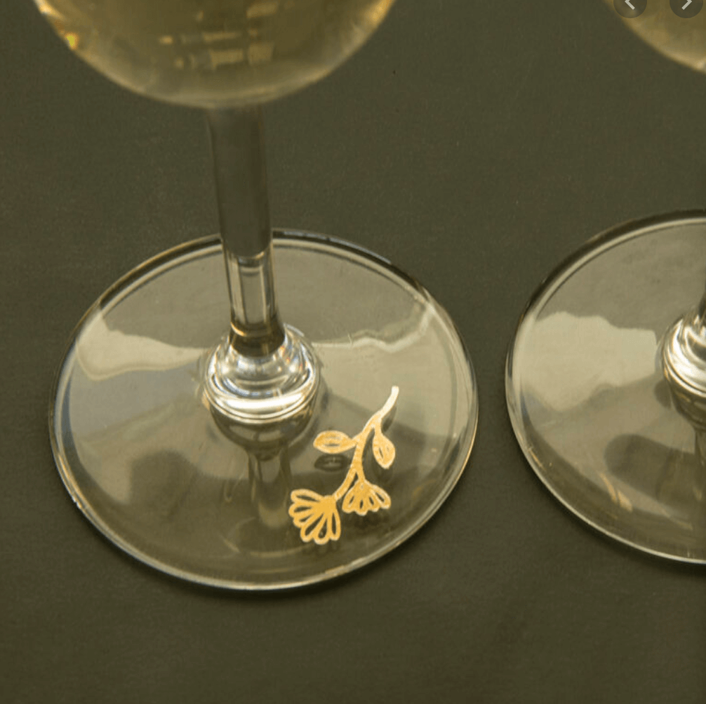 temporary tattoos used as decoration on glasses